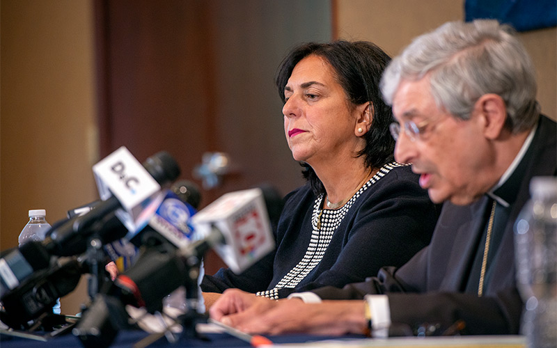 Diocesan Chief Financial Officer Lisa Passero and Bishop Salvatore R. Matano participate in a Sept. 12 press conference announcing the diocese's bankruptcy filing.