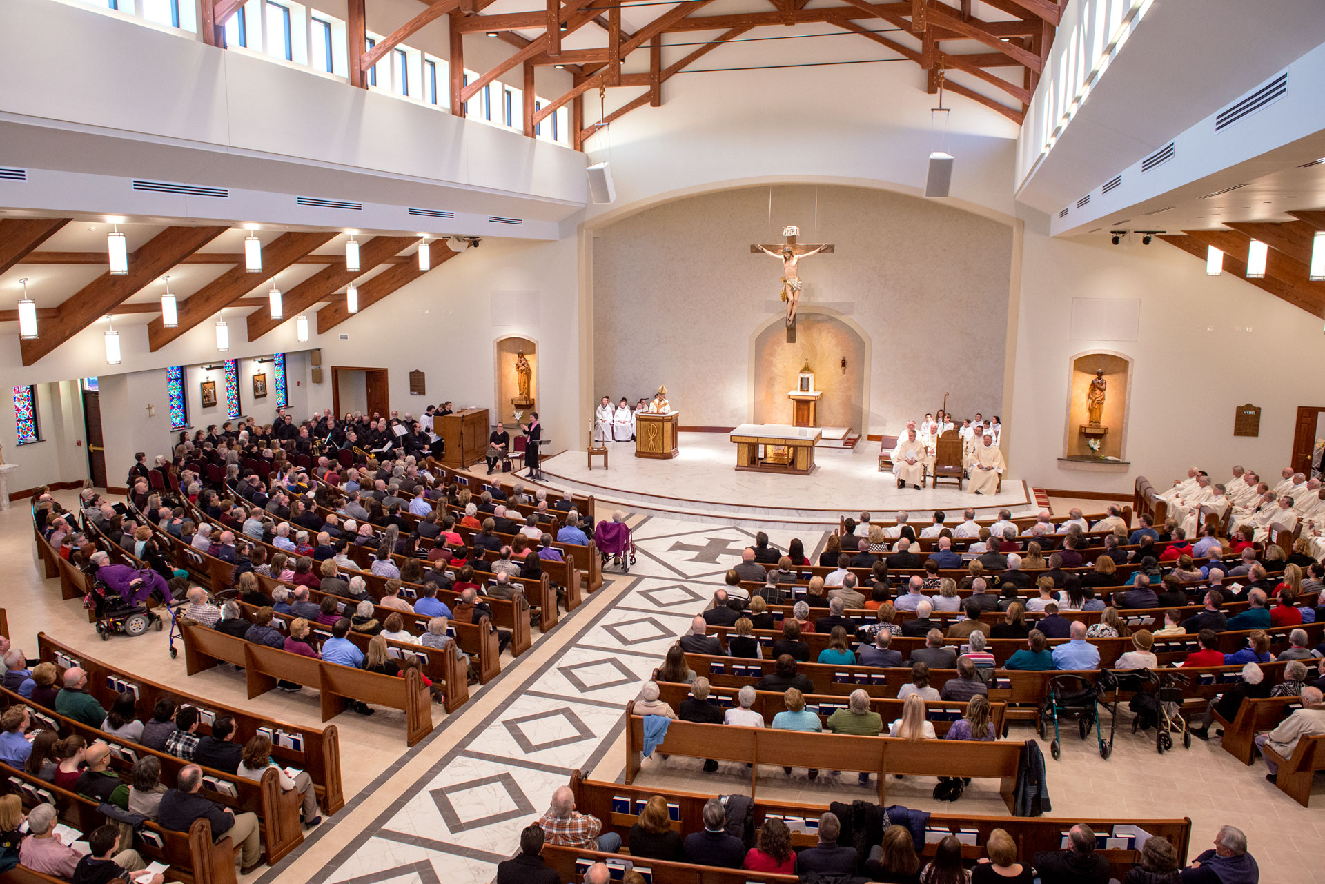 Bishop Salvatore R. Matano gives the homily during the Solemn Mass of Dedication at the newly built St. Pius Tenth Church in Chili March 19. (Courier photo by Jeff Witherow)