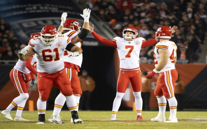 Kansas City Chiefs kicker Harrison Butker celebrates after making a field goal