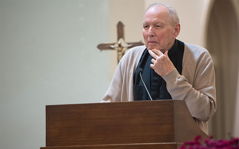 Bishop Emeritus Matthew H. Clark gives a witness talk during an Alzheimer's prayer service at St. Mary Church in Elmira Sept. 24. Bishop Clark was recently diagnosed with the disease.