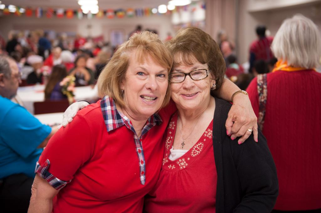 Janet Courtright (left) and Sharon Swartz volunteered to prepare food for the luncheon.