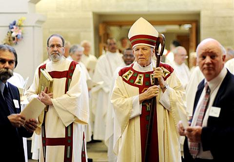 Bishop Matthew H. Clark (right) and Deacon David Palma (left).