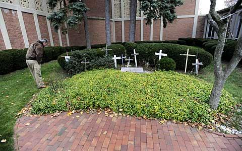 A cluster of crosses near the front of the church.