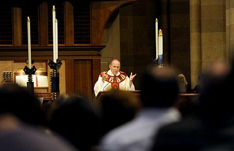 Bishop Clark delivers the homily.