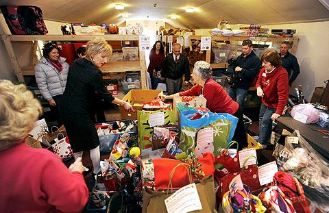 The Holiday House was packed with volunteers and gifts.