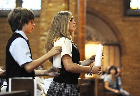 St. Mary students Hayden Guest & Deana Schenkel.