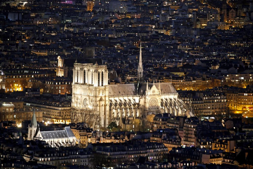 The Notre Dame Cathedral is seen at night in Paris Nov. 28, 2016.(CNS photo by Charles Platiau, Reuters)