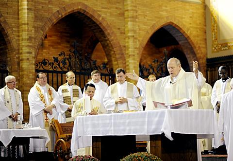 Bishop Matthew H. Clark celebrates Mass.