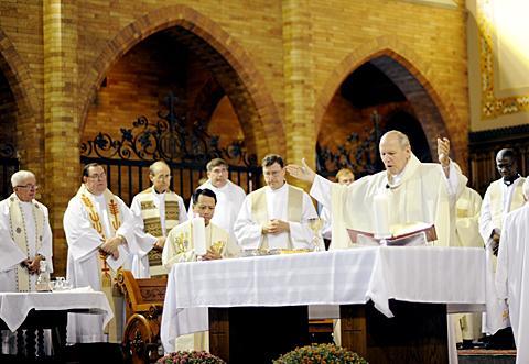 Bishop Matthew H. Clark celebrates Mass.