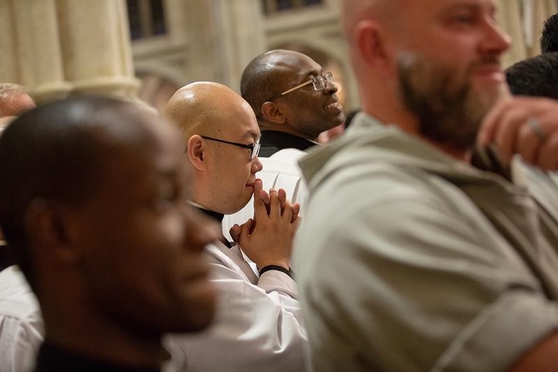 Seminarians from St. Joseph's Seminary in Yonkers, N.Y. pray with Pope Francis at St. Patrick's Cathedral in New York Sept. 24.