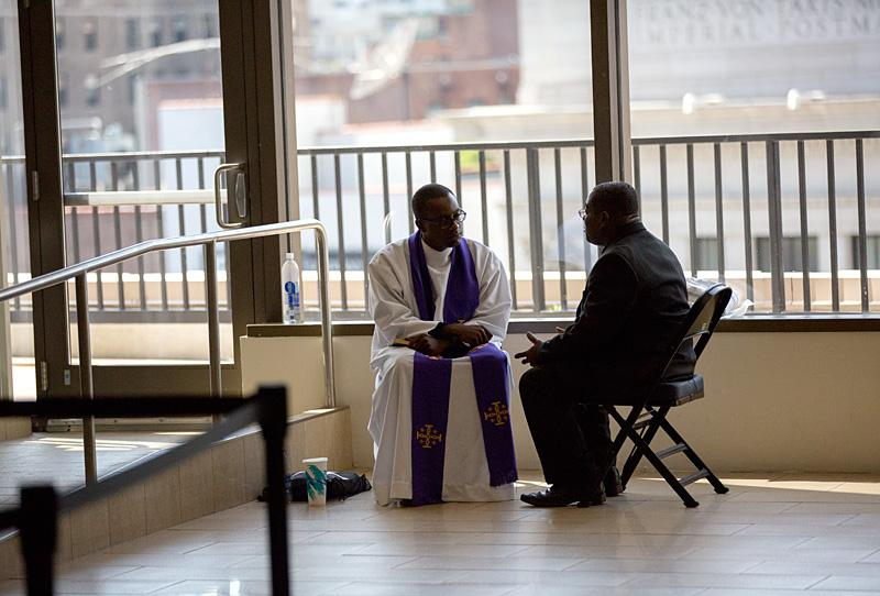 Priests heard confession throughout Madison Square Garden prior to the start of the Sept. 25 Mass.