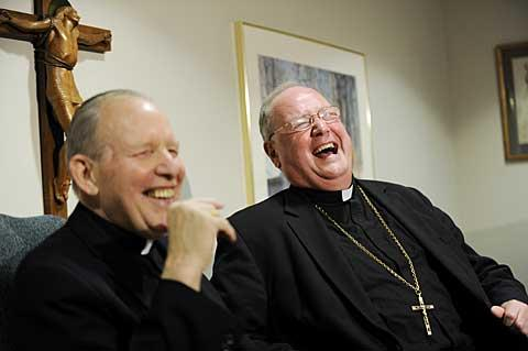 Bishop Clark and Archbishop Dolan share a laugh.