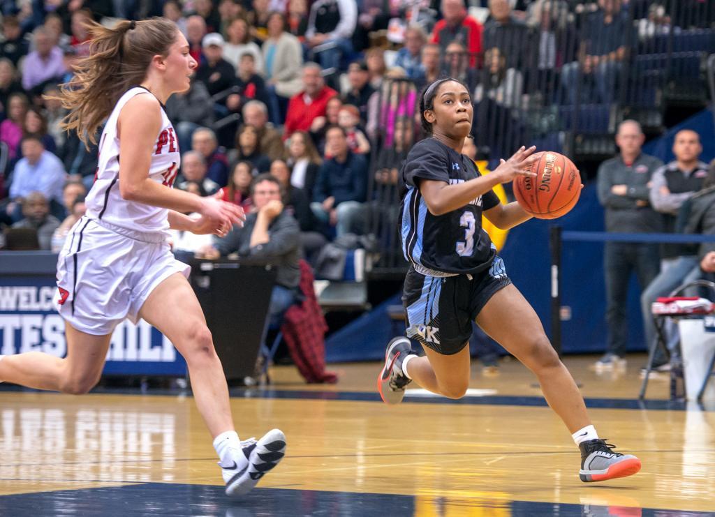Bishop Kearney's Kaia Goode makes a run toward the basket.