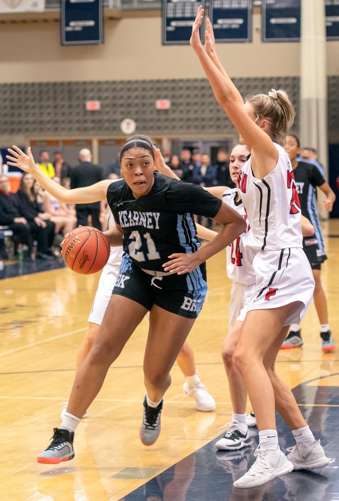 Bishop Kearney's Saniaa Wilson makes a drive toward the basket.