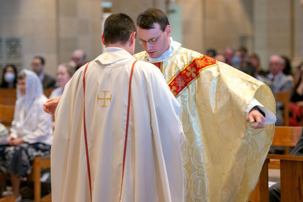 Father Maurici is vested.