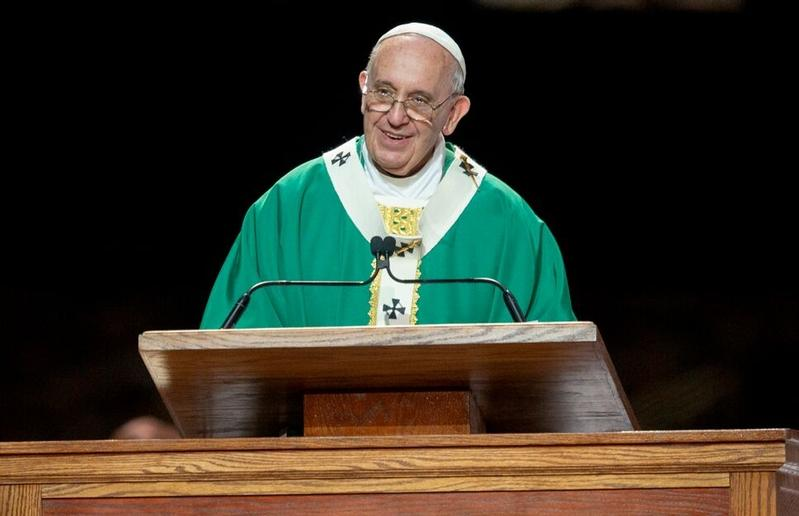 Pope Francis celebrates Mass at Madison Square Garden in New York Sept. 25.