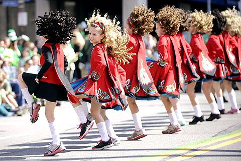 Dancers from the McMahon School of Irish Dance perform.