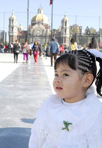 A child at the Guadalupe shrine.
