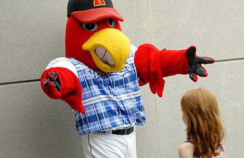 Mascot Spikes wore a plaid jersey to honor Catholic schools.