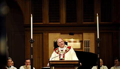 Archbishop Dolan delivers the homily during the Mass.