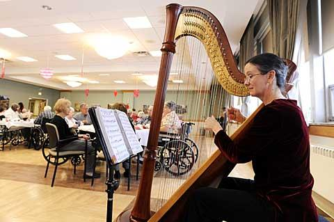 Harpist Susan Morehouse performs during the Sweetheart Tea.