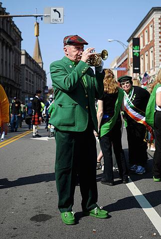 John Delehanty plays a pocket trumpet.