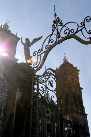 The Puebla Cathedral in Puebla, Mexico.