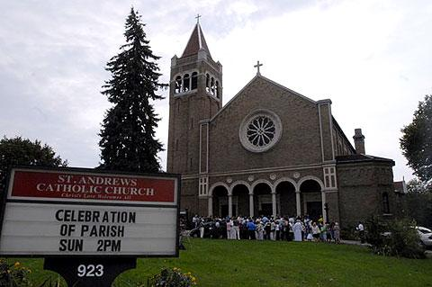Parishioners stand outside for the blessing.