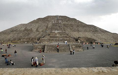 The Pyramid of the Sun at Teotihuacan.