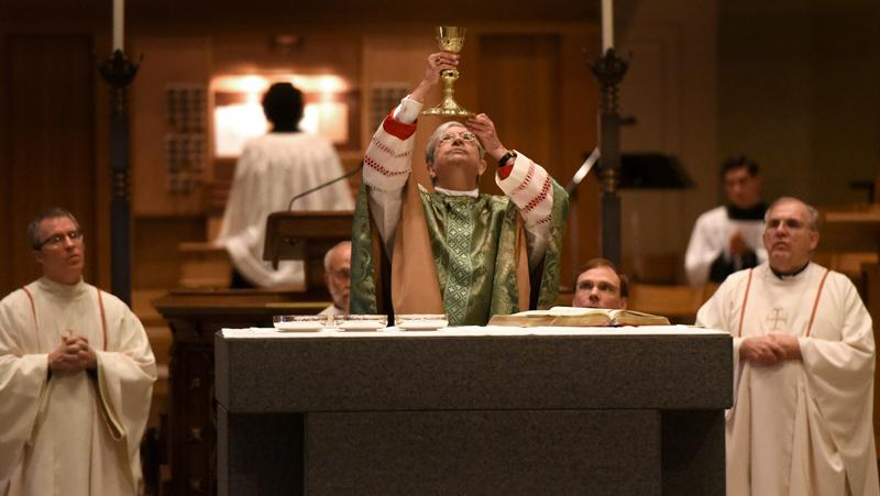 Bishop Salvatore R. Matano celebrates the Diocesan Respect for Life Mass honoring 20 years of Project Rachel ministry at Sacred Heart Cathedral Sunday, Oct. 2.