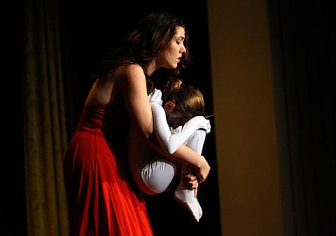 Life Ballet dancers Alexis Gaetano (L) & Liyah Bittle perform.