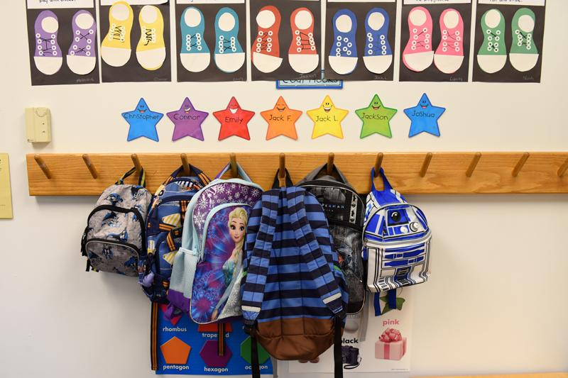 Backpacks at St. Patrick's Preschool is located in the preschool wing of St. Patrick Church's parish hall in Victor Sept. 23. The preschool offers classes for 3, 4 and 5 year olds, and this year is the preschool's 20th anniversary.