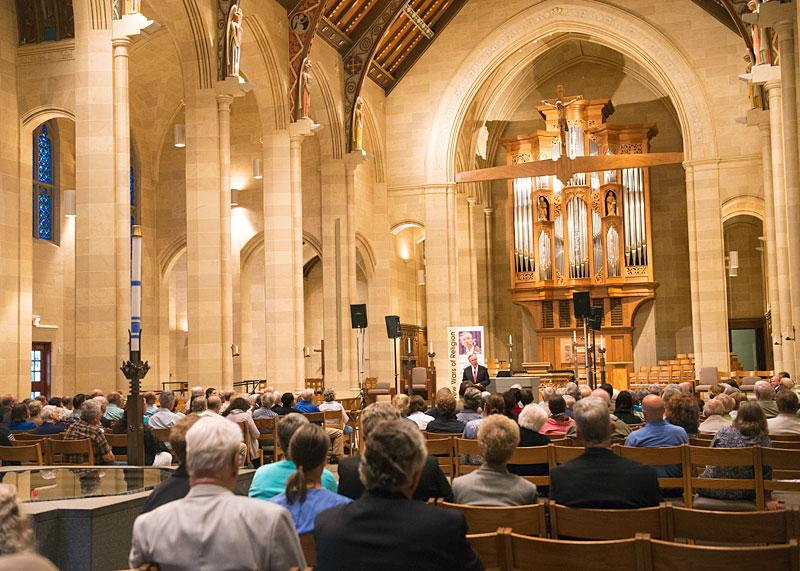 CUA President John Garvey speaks to approximately 300 people at Rochester's Sacred Heart Cathedral.