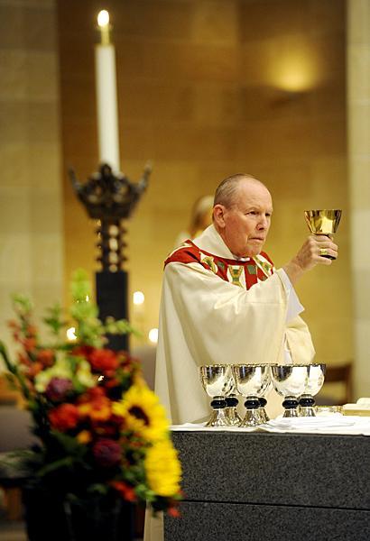 Bishop Clark celebrates the eucharist.