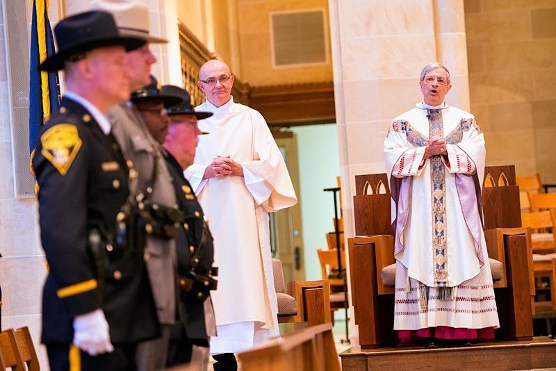 Bishop Salvatore R. Matano speaks at the start of Mass.