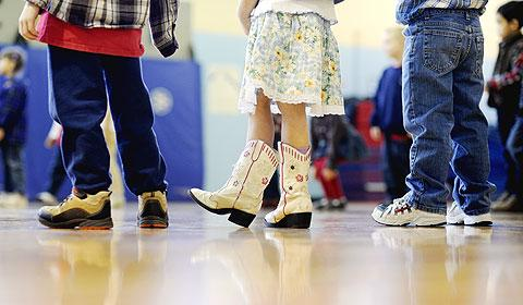 Some students wore cowboy boots for Country Western Day.