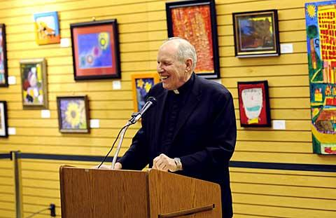 Bishop Clark discusses his book at Barnes & Noble.