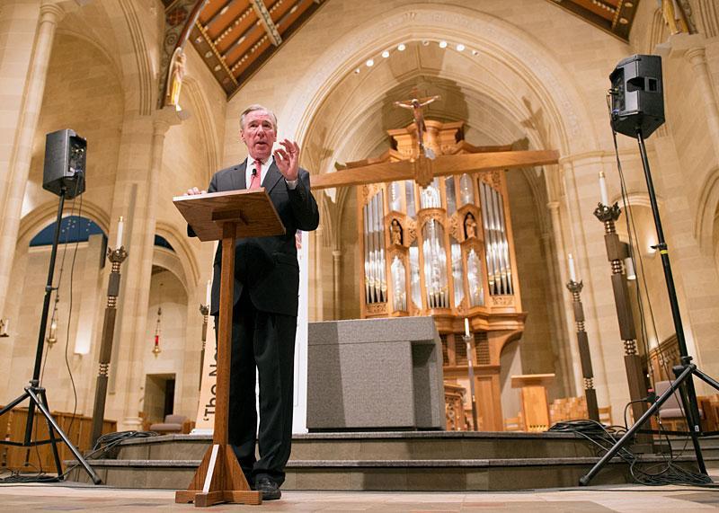 CUA President John Garvey speaks at Rochester's Sacred Heart Cathedral.