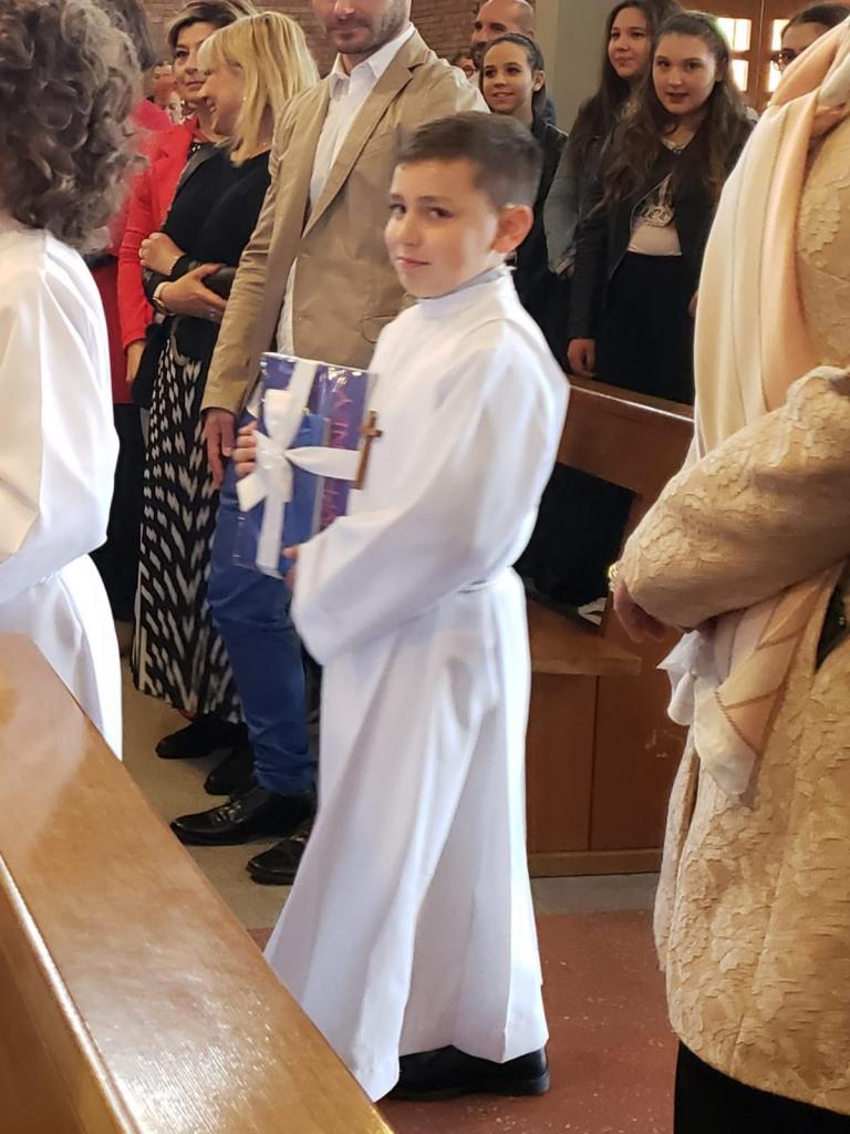 Francesco received his First Communion at Chiesa Di San Pietro a Grignano in Prato, Italy. (Submitted by Bernie)