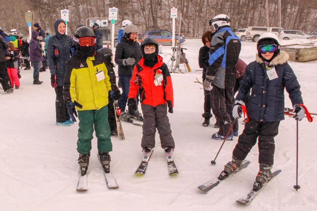 4th graders Elliot Aguirre and Elliot Carman and 5th grader Sydney Arbelo enjoy Family Fun Day skiing at Swain Resort.