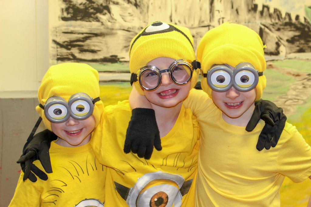 1st Graders (Menzo Peck, Cavan Dennis and Johnny Dowd) perform a Minions skit at the Talent Show.