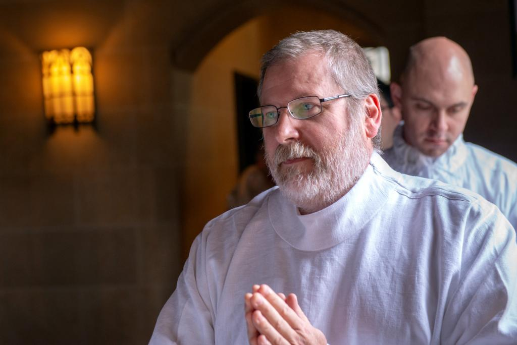 Deacon James Pegoni processes into Rochester's Sacred Heart Cathedral at the start of the May 26 Deacon Ordination Mass.