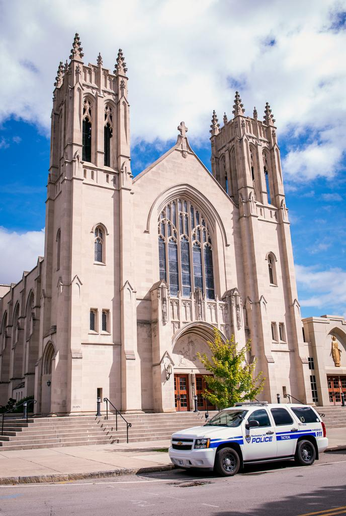 A Rochester Police vehicle is parked outside of Rochester's Sacred Heart Cathedral Sept. 8 during the annual Blue Mass honoring law enforcement personnel.