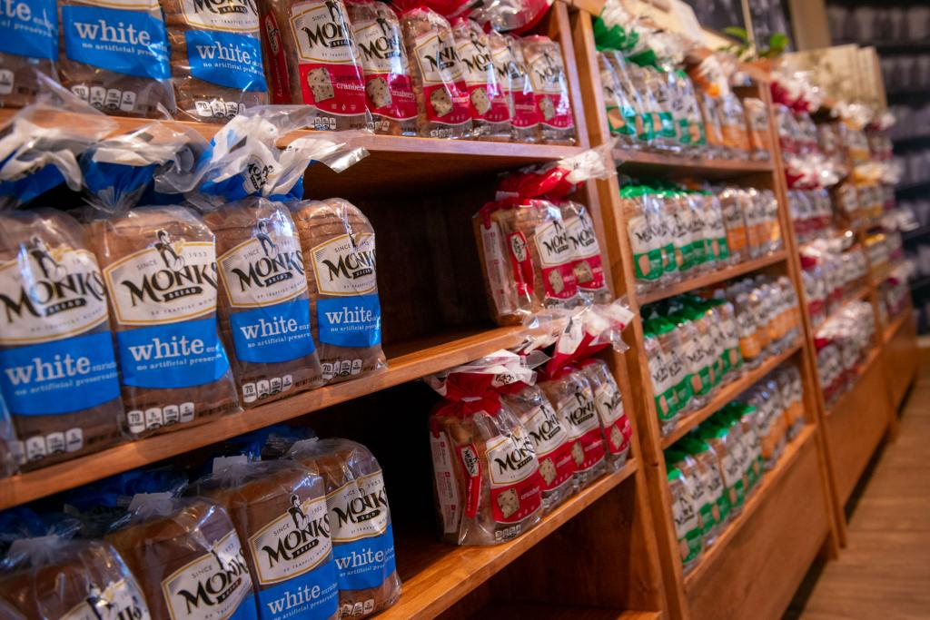 Varieties of Monk's Bread are for sale in the new store.