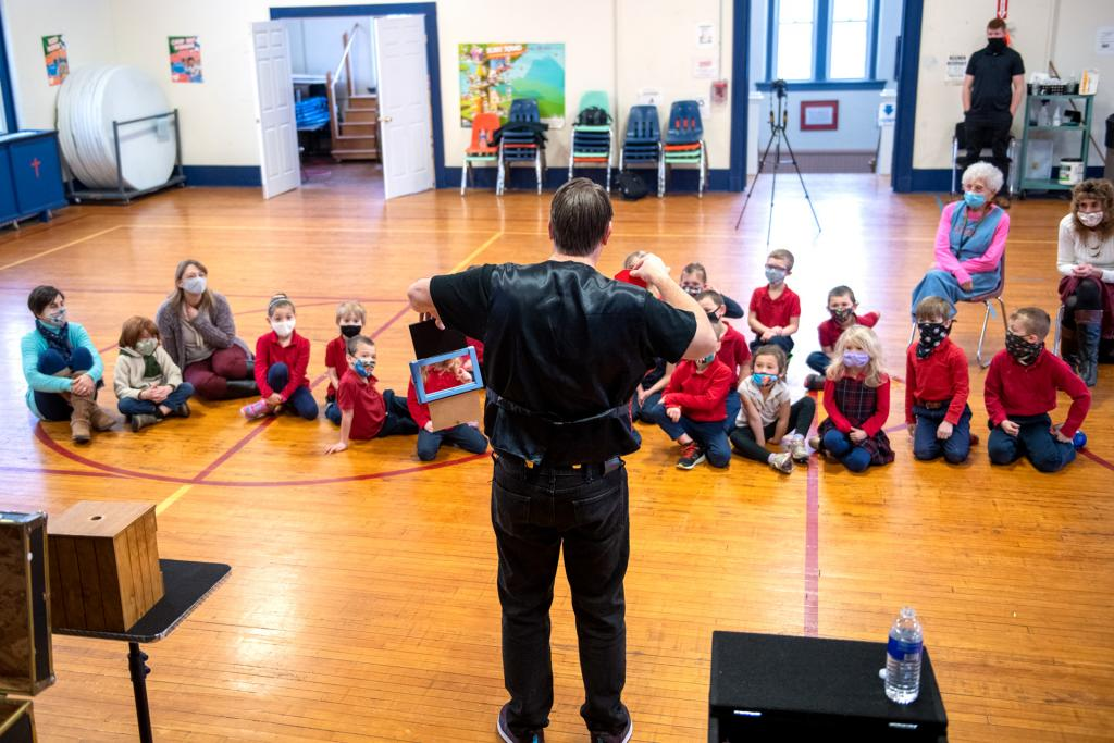 Magic Marlin performs for students in grades K-2 at St. Agnes School in Avon.