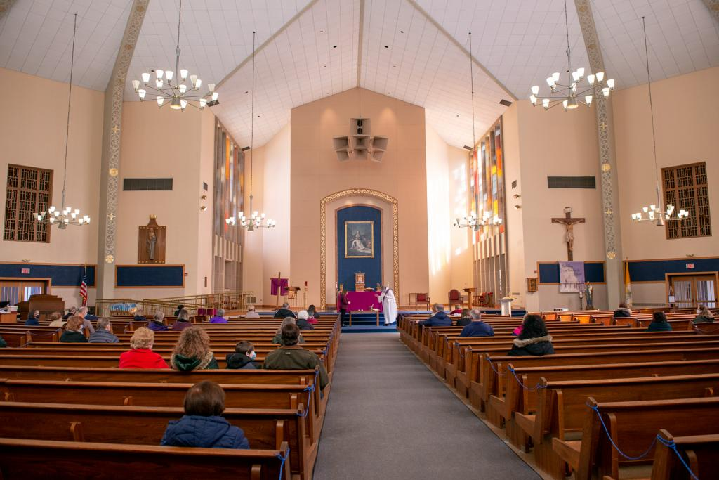 Parishioners of Our Mother of Sorrows Church in Greece gather for an Ash Wednesday prayer service.