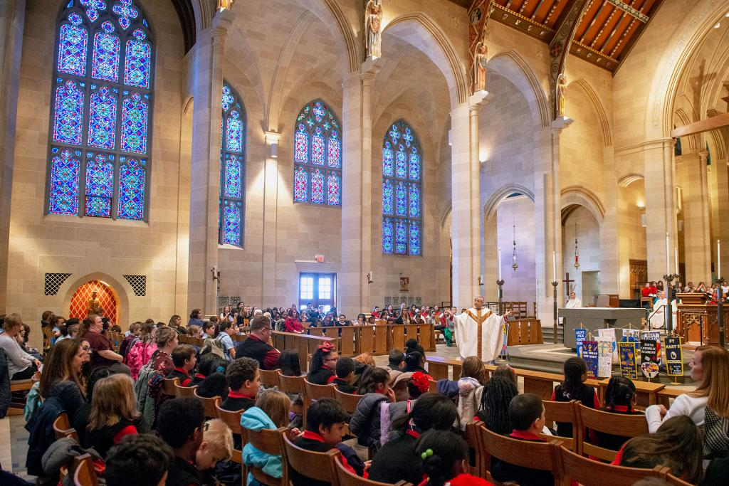 Bishop Salvatore R. Matano addresses Catholic-school students in his homily during the Catholic Schools Week Mass. (Courier photo by Jeff Witherow)