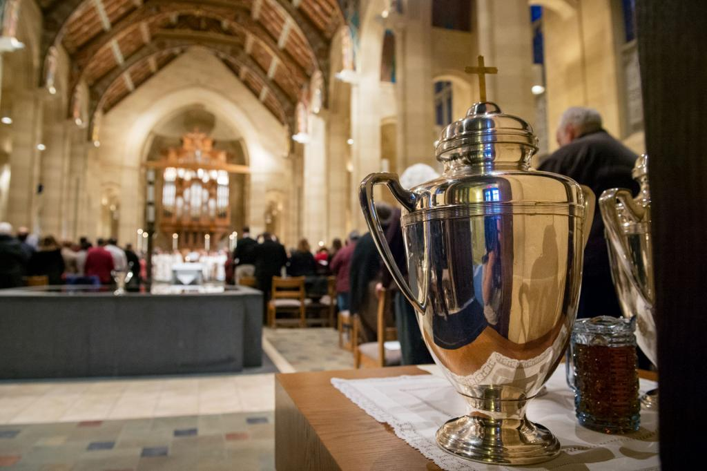 Oil vessels are positioned in the back of Sacred Heart Cathedral before consecration during the Chrism Mass at Rochester's Sacred Heart Cathedral March 27.
