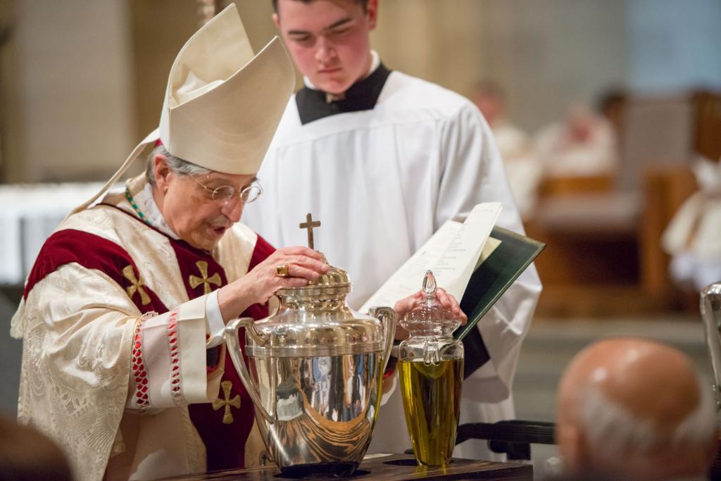 Bishop Salvatore R. Matano consecrates the sacred oils.