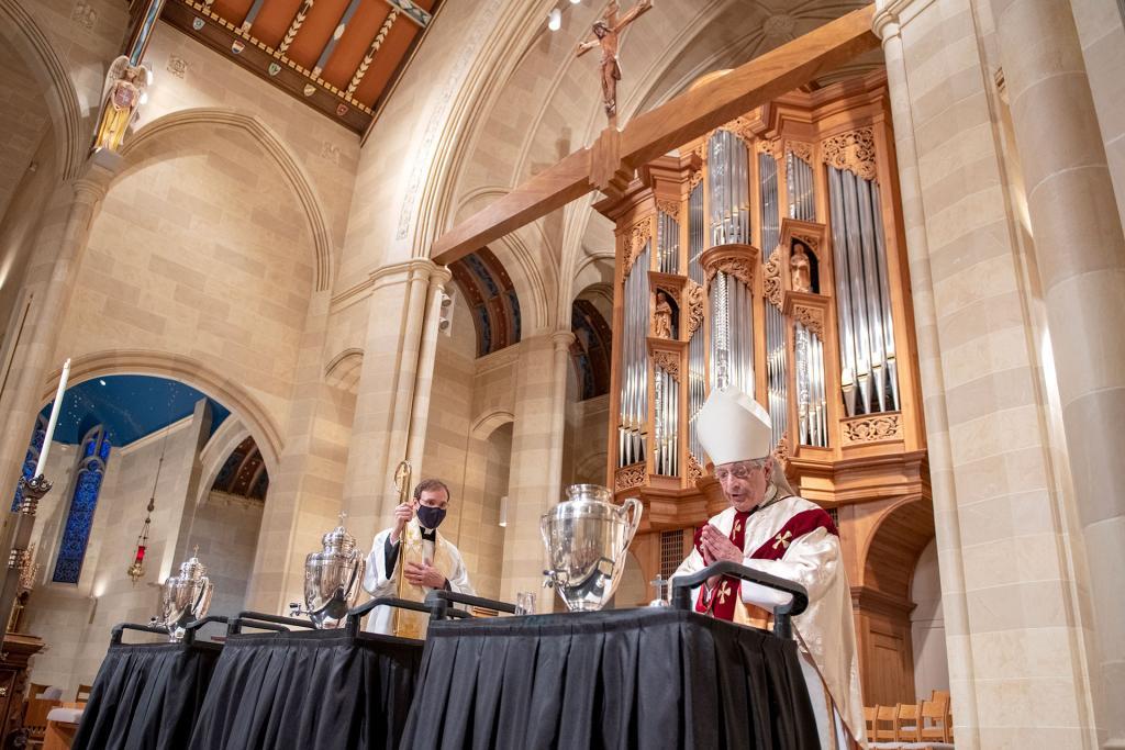 Bishop Matano consecrates the Sacred Chrism.